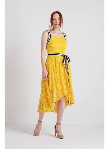 Rue Askılı Dantelli Midi Elbise Sarı